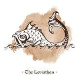 Левиафан Вектор кита легендарного морского чудовища гигантский Стоковые Изображения RF