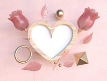 Левитация возражает деревянный пинк перевода формы 3d сердца рамки подняла концепция любов Валентайн иллюстрация вектора