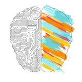 Левый и правый мозг действует концепция иллюстрация штока