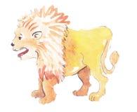 Лев акварели указателя места заполнения Стоковые Изображения