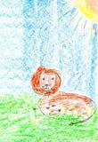 Лев лежа в траве. иллюстрация штока