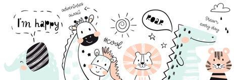 Лев, жираф, слон, крокодил, зебра, печать младенца тигра милая Счастливый, рык, холодный лозунг текста иллюстрация вектора