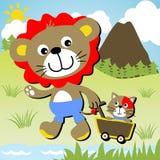 Лев и кот иллюстрация вектора