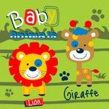 Лев младенца и шарж жирафа смешной животный Стоковые Фото