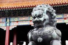 Лев сделанный от меди принятой перед запретным городом в Пекине, Китаем (оно немного влажный от дождя) стоковая фотография