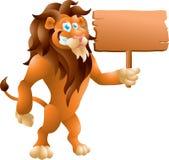 Лев с знаком Стоковая Фотография RF
