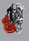 Лев с розами плакат вектор иллюстрация вектора