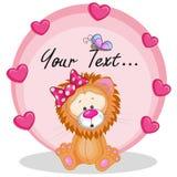 Лев с сердцами Стоковая Фотография