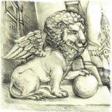 Лев с сферой Стоковая Фотография