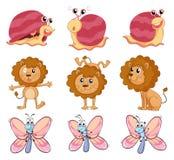 Лев, улитка и бабочка Стоковое Изображение