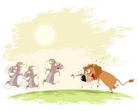Лев улавливает коз Стоковое фото RF