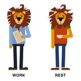 Лев шаржа, вектор человека льва Битник льва Изолированный лев вектора фасонируйте иллюстрацию льва одеванную в офисе и бесплатная иллюстрация