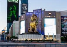 Лев Эм-Джи-Эм Гранда золотой на сумраке стоковое изображение