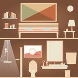 Легкая сцена спальни & ванной комнаты Стоковые Изображения