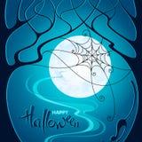легко редактируйте ночу изображения halloween для того чтобы vector Темные деревья, сеть и кот на backgrou голубой луны иллюстрация вектора