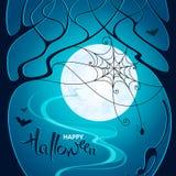 легко редактируйте ночу изображения halloween для того чтобы vector Темные деревья, сеть с пауком, летучие мыши и кот дальше иллюстрация вектора