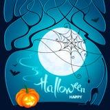 легко редактируйте ночу изображения halloween для того чтобы vector Темные деревья, тыква, сеть с пауком, летучими мышами и иллюстрация вектора