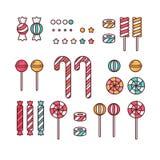 Леденцы на палочке конфеты установленные линейные с брызгают, спираль и помадки карамельки красочные vector иллюстрация Стоковая Фотография RF