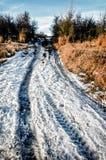 Ледистая проселочная дорога зимы Стоковые Изображения