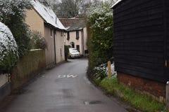 Ледистое Stevenage Хартфордшира деревни Aston холодное снежное стоковые фотографии rf