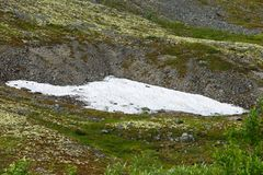 Ледник в горах Khibiny, полуостров Kola, Стоковое фото RF