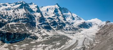 Ледник Pasterze, самый длинный ледник и гора Grossglocknet Стоковое Изображение