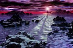ледовитая зима моря ландшафта Стоковые Фотографии RF
