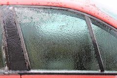 Лед на окне автомобиля Стоковые Изображения RF