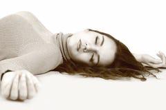 Лежать вниз женщина Стоковая Фотография RF