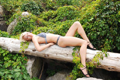 лежать loge девушки бикини Стоковое Изображение RF