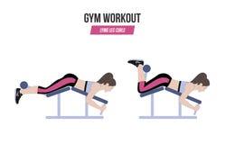 Лежа скручиваемости ноги athletic exercises Тренировки в спортзале Иллюстрация активного образа жизни вектор Стоковое Изображение RF
