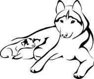 Лежа собака с щенятами иллюстрация вектора