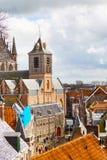 Лейден, Голландия, взгляд церков Pieterskerk воздушный Стоковое фото RF