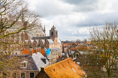 Лейден, Голландия, взгляд церков Pieterskerk воздушный Стоковое Изображение RF