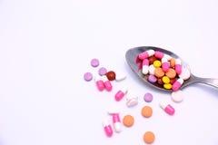 Лекарства в ложке Стоковое Фото