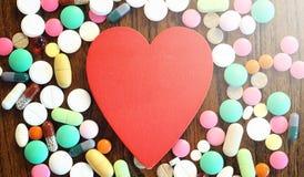 Лекарства и монетки в стеклянном опарнике на деревянном поле Карманные сбережения Стоковое Изображение