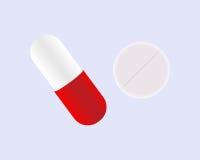 Лекарства и пилюльки на голубой предпосылке также вектор иллюстрации притяжки corel Стоковая Фотография RF