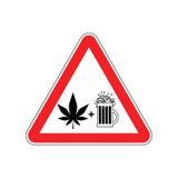 Лекарства и спирт внимания Дорожный знак красного цвета опасностей пиво и mar Стоковое Изображение RF