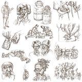 Лекарства - полноразрядная рука нарисованные иллюстрации иллюстрация вектора