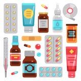 Лекарства фармации медицины, пилюльки, бутылки medicament и медицинское оборудование vector плоские значки иллюстрация вектора