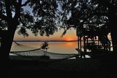 ленивый заход солнца реки Стоковая Фотография RF