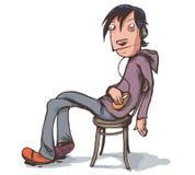 Ленивый мальчик сидя в стуле также вектор иллюстрации притяжки corel Стоковые Фото