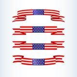 Лента американского флага играет главные роли флаг США темы нашивок патриотический американский волнистого элемента дизайна значк иллюстрация вектора