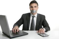 лента безмолвия офиса рта бизнесмена Стоковые Фото