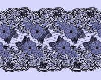 Лента безшовного шнурка голубая текстурированная Горизонтальная картина сетки цветков и листьев Стоковое Фото