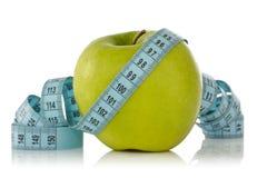 лента измерения голубого зеленого цвета яблока Стоковые Изображения RF