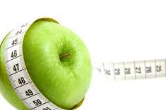 лента измерения яблока свежая зеленая Стоковые Фото