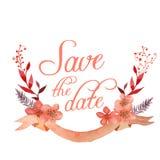Лента и цветки сохраняют дизайн даты Стоковое Изображение