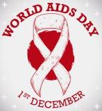 Лента над перекрестной предпосылкой картины на Международный день СПИДА, иллюстрация вектора Стоковые Фотографии RF