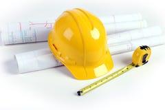 лента планов hardhat измеряя стоковое изображение rf